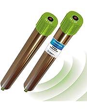 ISOTRONIC® Ahuyentador de topos, Efectivas vibraciones por ultrasonido contra ratón, rata, hormiga, topillo, serpiente - Repelente de alta frecuencia para exteriores - Paquete de 2 piezas