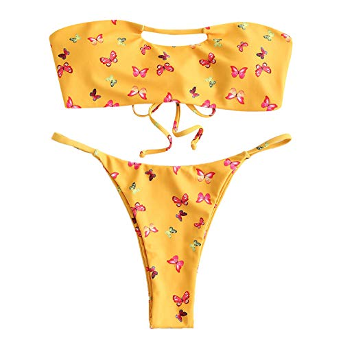 Traje de baño para niñas de dos piezas con estampado de mariposas, talla grande, traje de baño de playa, conjunto de bikini con correa hueca, sexy y descarada, traje de baño de verano