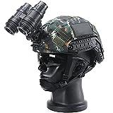 AQzxdc PSV-14 Montura NVG para Gafas de Visión Nocturna, Conjuntos de Modelos de Casco y Telescopio Fast, con Auriculares Tácticos & Gafas & Linterna, para Airsoft Paintball Hunting Cosplay,Set c