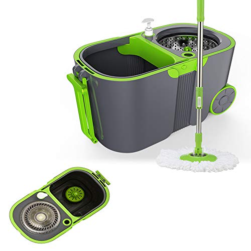 JUYHTY RVS roterende mop, handsfree automatische moppmop handdruk dweilschop reinigingssysteem met dubbele aandrijving, geschikt voor thuis, op kantoor enz.