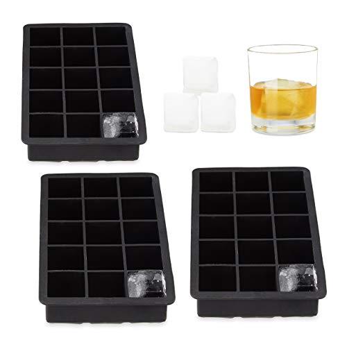 Relaxdays 3X Eiswürfelform Silikon, für 3,5 cm Eiswürfel, BPA-frei, für Cocktails, H x B x T: ca. 3,5 x 19,5 x 12,5 cm, schwarz