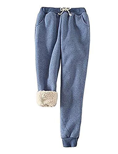 Pantaloni Invernali da Donna in Pile Caldo Pantaloni Sportivi Foderati in Sherpa Pantaloni da Allenamento Jogger (Color : Blue, Size : 3XL)
