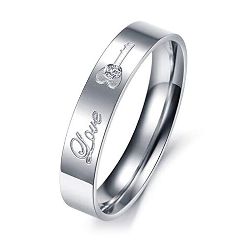 Rubyia Personalised Matching Rings, Promise Ring Women Stainless Steel Love-Key, CZ, N 1/2, 1 Pc