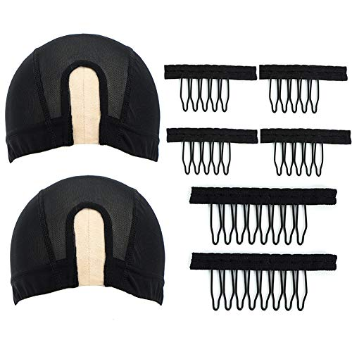 PANEWAY U Part Mesh Wig Caps for Making Wigs Black Wig Caps for Women Breathable Wig Caps and Metal Wig Combs for DIY Wigs Kit (2 Medium Size Caps, 6 Combs)