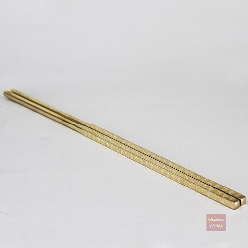 1 Pair of Half Handmade Brass Copper Chinese Chopsticks 24cm