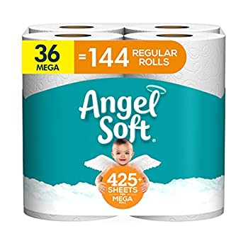 Angel Soft Toilet Paper 36 Mega Roll = 144 Regular Rolls 425+ 2-Ply Sheets Per Roll