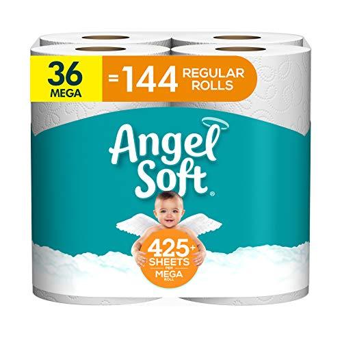 Angel Soft Toilet Paper, 36 Mega Roll = 144 Regular Rolls, 425+ 2-Ply Sheets Per Roll