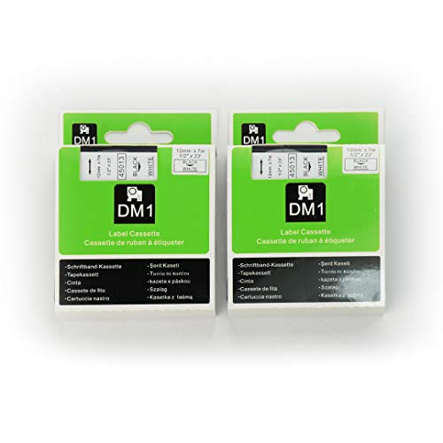 "DYMO D1 45013 Label Tape, LaBold 2 Pack Black on White Label Tape Cartridge Compatible for DYMO Standard D1 45013 Label Manager 1/2"" x 23' (12mm x 7m)"