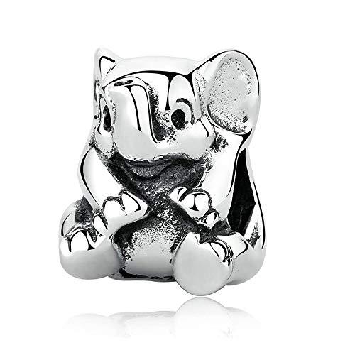 CHICBUY Cuentas de plata de ley 925 con diseño de elefante de la suerte, para pulseras Pandora, abalorios