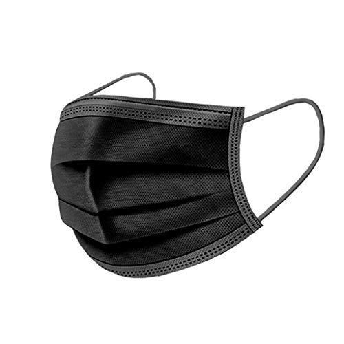 50 Stück Erwachsene Mundschutz Einweg 3-lagig Atmungsaktiv Einfarbig Mundbedeckung, Unisex Disposable Face Cover, Damen Herren Accessory Schutz Outdoor Anti-Staub Bandana Loop (Schwarz, 100PC)