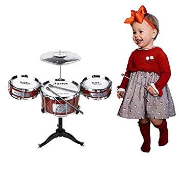 AHOMASH Small Jazz Drum Sets for Kids 1-6 Years Old Beats Musical Toys Plastic Drum Kit with Cymbal & Drumsticks