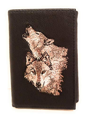 Embroidered Genuine Leather Trifold Men's Wallet Billfold (Black, Wolf Pair)