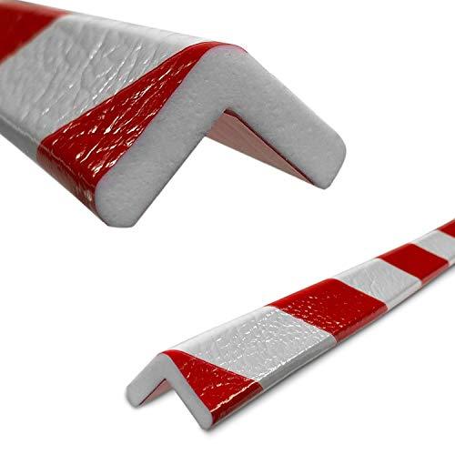 Betriebsausstattung24® Eckschutzprofil Typ E | rot/weiß | selbstklebend | Länge: 1,0 m