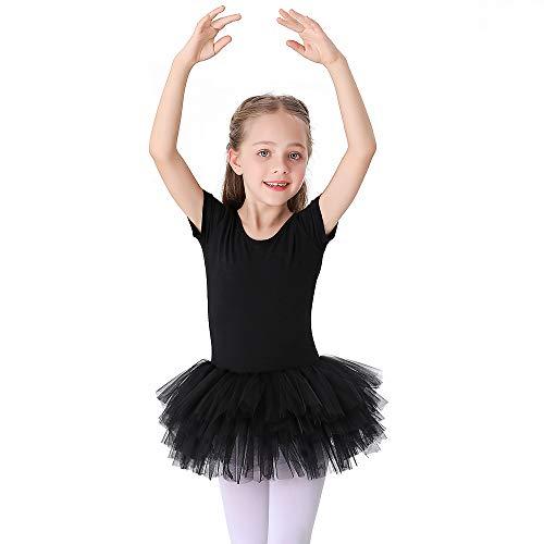Bezioner Maillot de Danza Tutú Vestido de Ballet Gimnasia Leotardo Algodón Body Clásico para Niña Negro 120