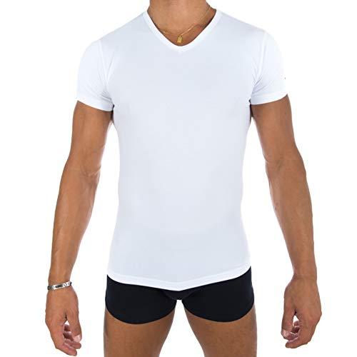 Eden Park Underwear T-Shirt col V Canotta, Bianco (Blanc), M Uomo
