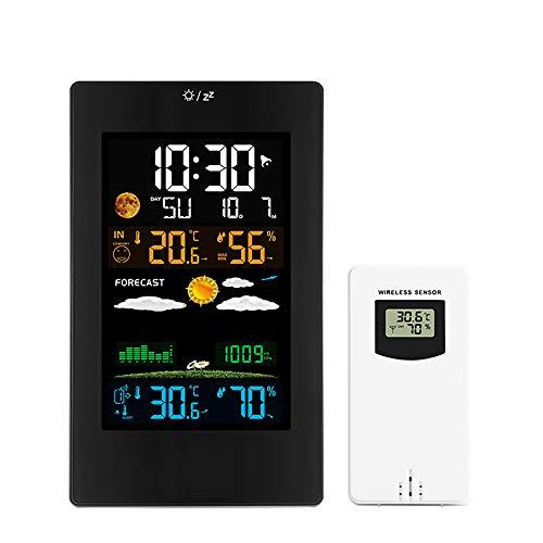 SOOTOP Stazioni Meteo Senza Fili con Sensore Esterno, Termometro Esterno Dell'Interno di umidità del Calibro della Stazione Metereologica Orologio