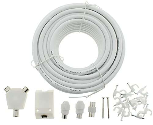 15M COAXIAL TV Extension KIT, Aerial Cable, Coax Lead Television Wire Plugs By Reulin