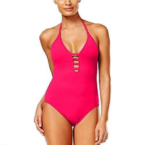 La Blanca Women's Island Goddess Lattice Front Strappy Back Halter One Piece Swimsuit, Fuchsia, 16