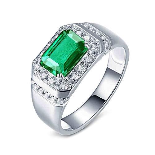 AnazoZ Anillos Hombre Diamantes Esmeraldas,Anillos Plata PT950 Platino Plata Verde Rectángulo Esmeralda Verde 1.42ct Diamante 0.35ct