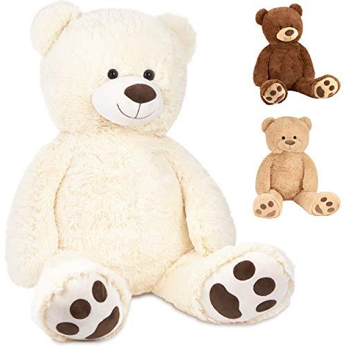 Brubaker XXL Teddybär 100 cm groß - Weiß - Stofftier Plüschtier Kuscheltier