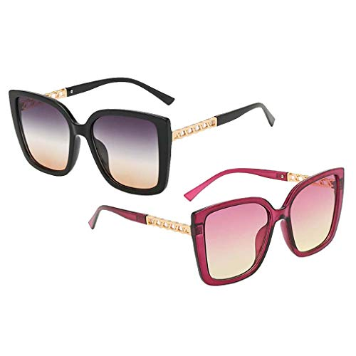 Colcolo 2pcs Gafas de Sol de Ojo de Gato de Moda Vintage Unisex Anteojos de Verano de Gran Tamaño