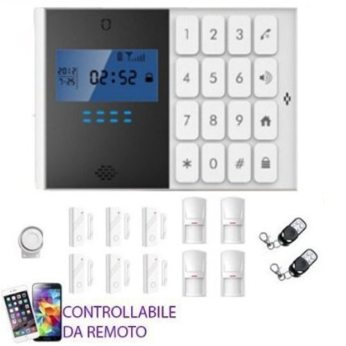 mapishop Modelo Flo. Kit antirrobo alarma Casa negocio Garaje Furgoneta combinador GSM Wireless Control de Remoto con móvil.
