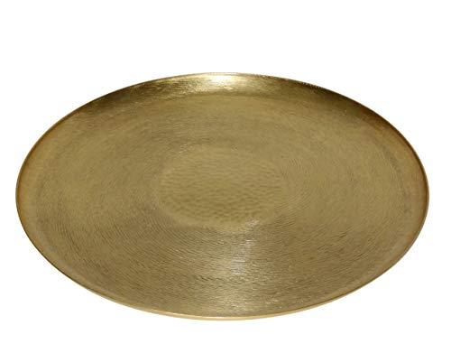 LaLe Living orientalisches Tablett - Tepsi - rund aus Eisen in Gold, Ø37cm zur Verwendung als Serviertablett oder Dekotablett für Kerzen, Vasen oder Adventskranz