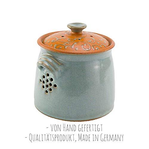 von Hand gefertigter, glasierter Brottopf/Vorratstopf aus grauem Steingut (Zwiebeltopf), | 100{080ba497e7862e2a968d3be62814d03a1740b9f5166f79fa0b2648655a42d9d1} Qualitätsprodukt Made in Germany