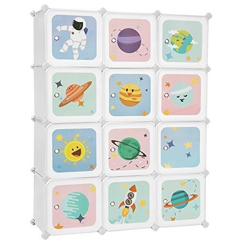 SONGMICS Kids Toy Cube Storage Organizer 12-Cube Plastic Storage Unit with Doors for Closet Kid's Room Living Room Shoes Clothes Toys Easy to Assemble Stellar Motifs White ULPC901W
