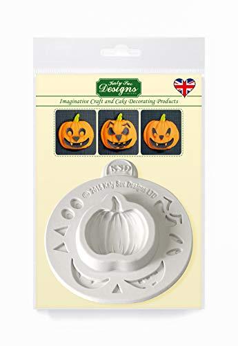 Pompoen gezicht siliconen mal voor Halloween taart decoratie, ambachten, cupcakes, suikerwerk, snoepjes, chocolade, kaarten maken en klei, voedselveilig goedgekeurd, gemaakt in het Verenigd Koninkrijk