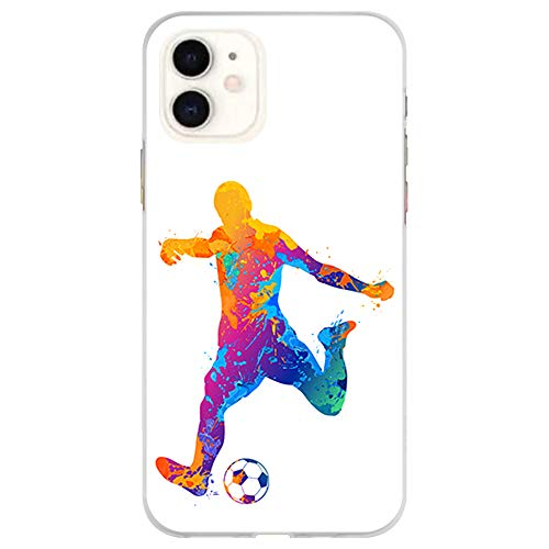 BJJ SHOP Funda Transparente para [ iPhone 11 ], Carcasa de Silicona Flexible TPU, diseño: Futbolista Watercolor Salpicaduras de Color