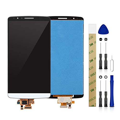 for Sprint LG G3 LS990 LCD Screen Display Assembly Touch Screen Panel Glass Replacement Tool (White Without Frame)