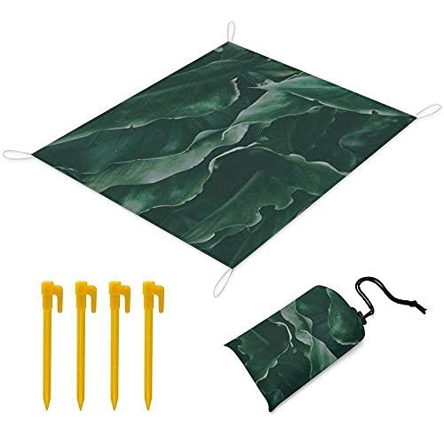 Manta Picnic 170x145 cm Alfombra de Playa con 1 Bolsas y 4 Clavos Fijos Impermeable Plegable Camping Accesorios para la Playa Camping y Picnic - Hojas Verdes