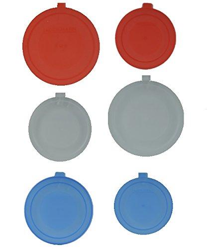 6 Deckel für Konserven - Dosen in 3 verschiedenen Größen Ø 7,5/8,5/10 cm (Farbe je nach Verfügbarkeit)