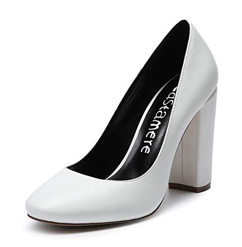 CASTAMERE Mujer Clásico Tacón Ancho Zapatos de Tacón Confort Punta Redonda Zapatos Mujer Sexy Boda Vestido Partido Oficina Tacones Altos 10cm PU Blanco EU 39