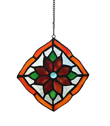 Yaloyi Tiffany-Stil Buntglas-Fenster Panel Blume farbige Glas Sonnenfänger für Fenster hängende Ornament