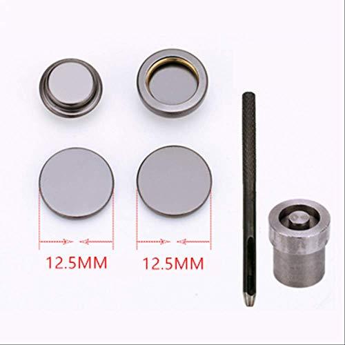 Metalen drukknoppen Knoopsluitingen met doe-het-zelf bevestigingsdrukknopen Kleding Naaigereedschap 10set/partij 12,5 MM Zwart gereedschap