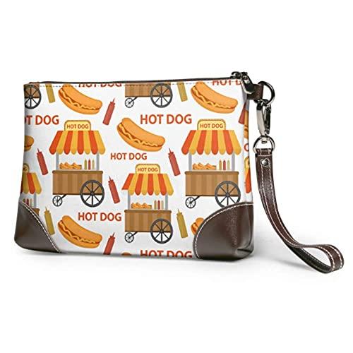 Bolso de mano de maquillaje suave a prueba de agua lindo perro caliente en moño de dibujos animados...