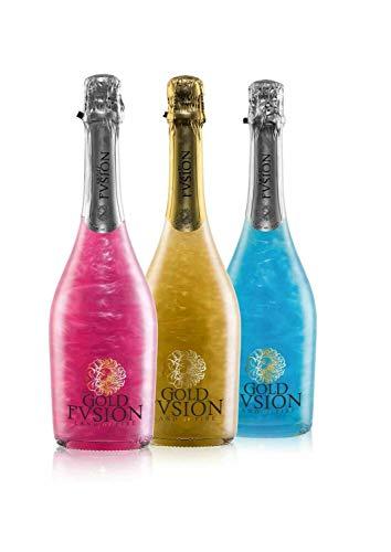 Pack vino espumoso tres botellas GOLD FVSION (Golden, Pink y Blue)- ideal San Valentín, cumpleaños, carnaval, Halloween, fiesta, celebración, boda, brindis