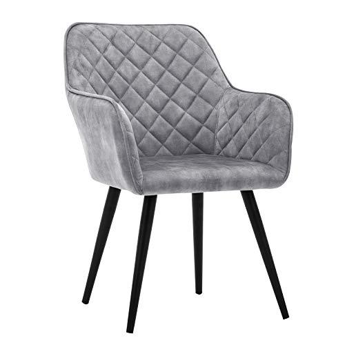 Duhome Esszimmerstuhl Polsterstuhl Armlehnstuhl mit Rückenlehne Sessel Metallbeine 8058-1, Farbe:Grau, Material:Samt Vintage