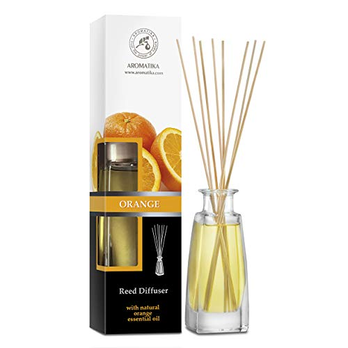 Difusor de Caña Naranja 100ml - 0% Alcohol - Set de Regalo con 8 palitos de bambú es el Mejor para Aromaterapia - Spa - Hogar - Oficina - Gimnasio - Restaurante - Boutique