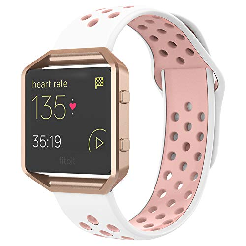 UMTELE Compatible for Fitbit Blaze Bands, Sport Silicone Replacement Strap with Rose Gold/Gunmetal Frame Replacement with Fitbit Blaze Smart Fitness Watch Men Women