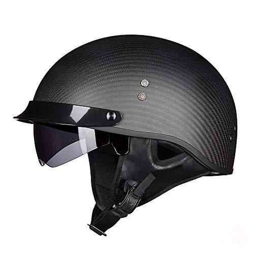 FLHWAN Motorradhelm Halbhelm, Retro Harley Jethelm DOT-Zertifizierter Carbon Motorradhelm Unisex Prince Helm Retro Fahrrad Moped Cruiser Chopper Schwimmhelm