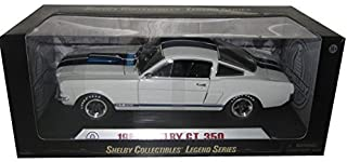 1966 Ford Shelby Mustang GT 350 White with Blue Stripes With Printed Carroll Shelby Signature on the roof 1/18 by Shelby Collectibles SC168-1