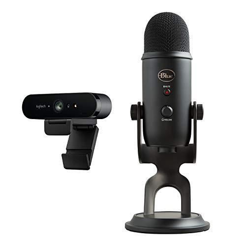 Logitech - LA CONFIGURATION ULTIME POUR LES STREAMERS PROFESSIONNELS - Microphone USB Blue Yeti + Webcam gaming Brio 4K, (Webcam édition diffusion HD 1080p - Licence XSplit premium 12 mois incluse)