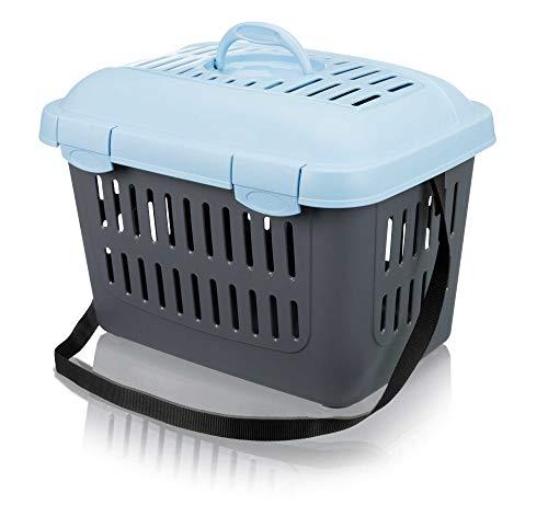 Trixie 3979 Midi-Capri Transportbox, 44 × 33 × 32 cm, blau/grau