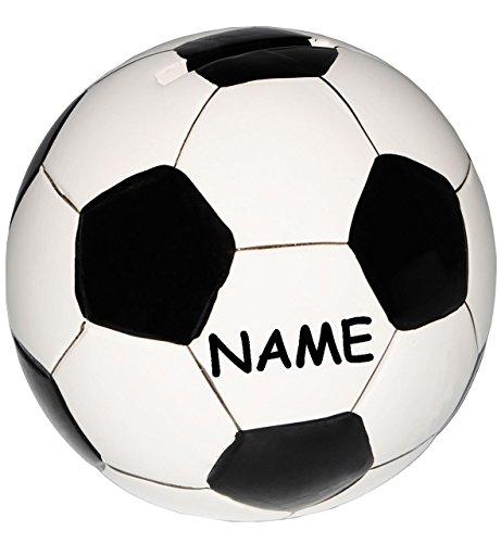 alles-meine.de GmbH große Spardose -  Fußball / Ball - weiß & schwarz  - incl. Name - stabile Sparbüchse aus Porzellan / Keramik - Sparschwein - Fußball Mannschaft - für Kinder..