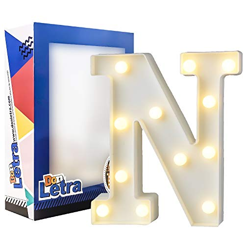 DON LETRA Letras Luminosas Decorativas con Luces LED, Letras del Alfabeto A-Z, Altura de 22cm, Color Blanco - Letra N