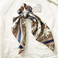TMYQM ファッション花柄を印刷シュシュシルク弾性ヘアバンドの女性の髪のスカーフ弓ゴムロープ女の子の髪ネクタイヘアアクセサリー (Color : 19)
