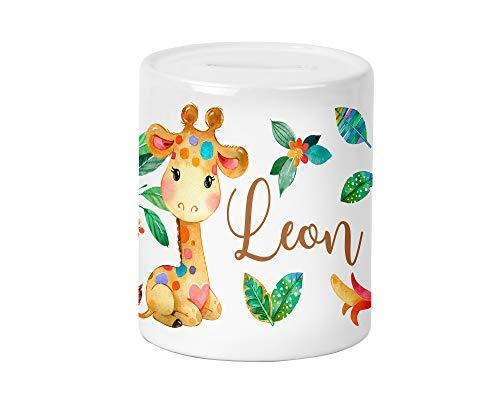 Regenbogen Giraffe Kinder-Spardose für Jungen und Mädchen mit Namen personalisiert zur Einschulung Taufe Geburtstag Geburt Sparschwein Geldgeschenk